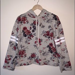 Flower Print Long Sleeve Crop Top With Hood